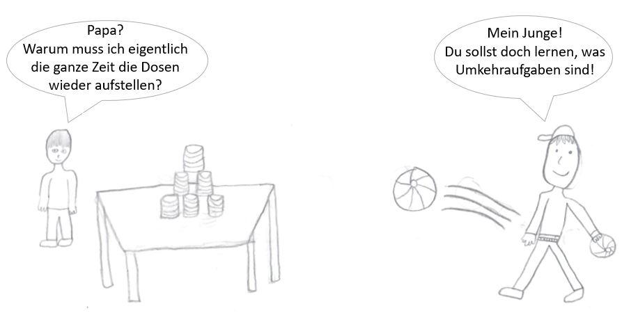 Umkehraufgaben - Cartoon